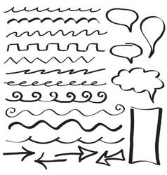 Set of hand drawn border lines vector image