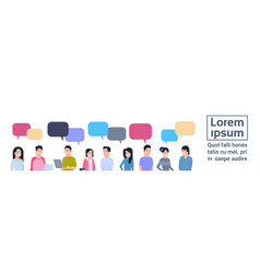 young asian men and women group with chat bubbles vector image