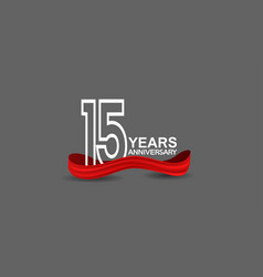 15 years anniversary line style white color vector