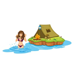 A sexy girl swimming near the island with a vector image