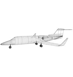 airplane blueprint outline aircraft on white vector image
