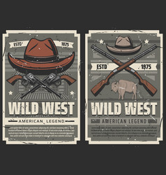 american wild west cowboy saloon and gun vector image