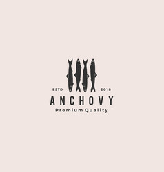 Anchovy fish logo hipster vintage retro label vector