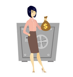 Asian business woman holding a money bag vector