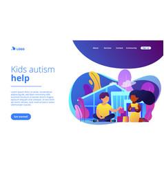 Autism center concept landing page vector