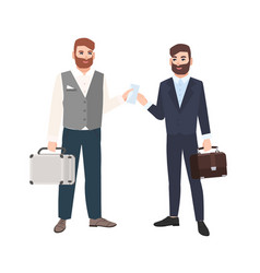 bearded man passing envelope to his business vector image