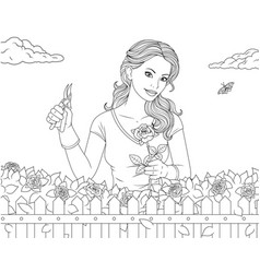 Beautiful girl in the garden with roses vector