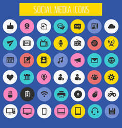 big social media icon set trendy flat icons vector image