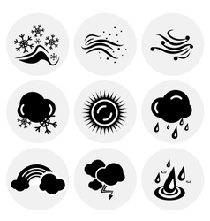 Black weather icons vector