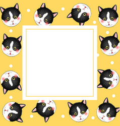 black white cat on yellow banner card vector image
