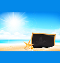blank black board on the sand beach 001 vector image