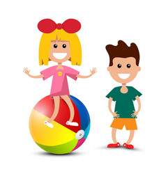 boy with girl sitting on beach ball isoated on vector image