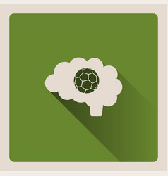 brain thinking in the football on green vector image