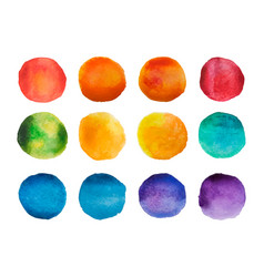 Bright watercolor circles set rainbow watercolour vector