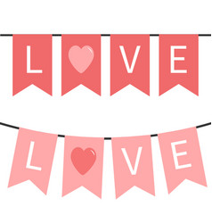 bunting flag garland set happy valentines day vector image