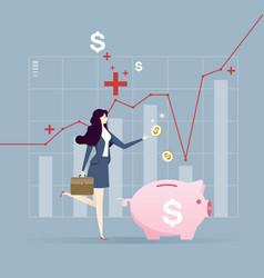 Businesswoman put coin piggy bank money vector