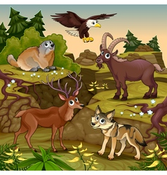 Cartoon animals deer eagle groundhog steinbock vector