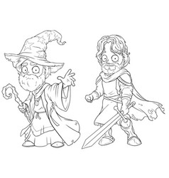Cartoon medieval wizard and knight character set vector