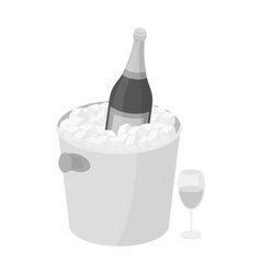 Champagne bottle in an ice bucket icon in vector
