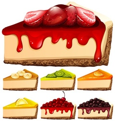 Cheesecake with different toppings vector