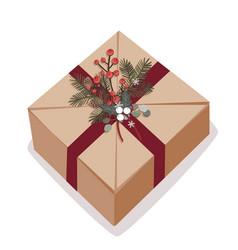 christmas box on white vector image