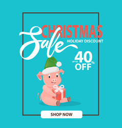 christmas sale holiday discount 40 percent piglet vector image