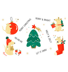 christmas set funny cartoon holiday mice vector image
