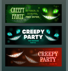 Creepy party banners layouts set scary vector