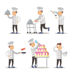 Cute cook cartoon character set man cooking vector