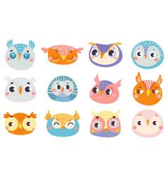 cute owl faces set face owl fun drawing vector image