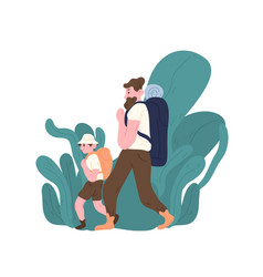 dad and son with backpacks walking or hiking vector image
