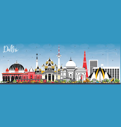 Delhi india city skyline with color buildings and vector