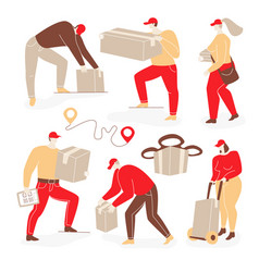 Delivery with people vector