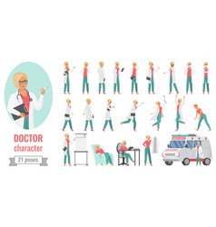doctor woman poses set cartoon female medical vector image