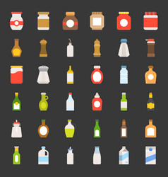 food and drink container icon set flat style vector image