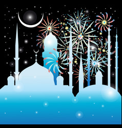 graphics mosque and fireworks vector image
