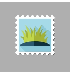 Grass flat stamp with long shadow vector image