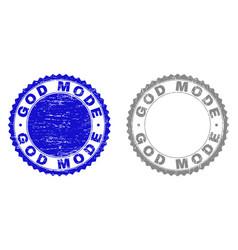 Grunge god mode scratched stamp seals vector