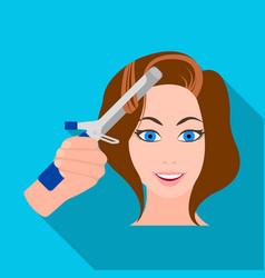 Hair curling in the hairdresser curling hair vector