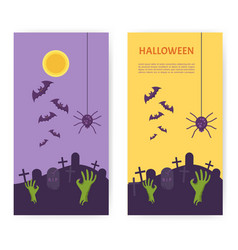 Halloween banner tomb stone zombie hand from vector