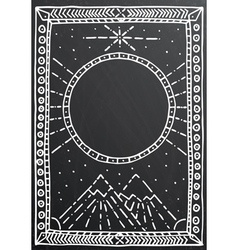 Hand drawn outline white frame on black vector