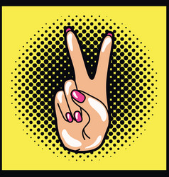 Hand expressing peace and love pop art style vector