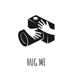 hands hugging camera love photo concept vector image