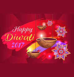 Happy diwali 2017 banner with flowers and lamps vector