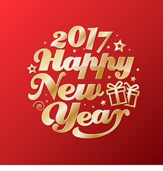 Happy New Year gold lettering circle Modern vector image