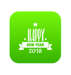 happy new year lettering icon green vector image