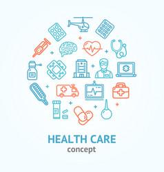 health care color round design template line icon vector image
