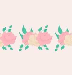 Horizontal border with cream and pink composition vector