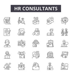 Hr consultants line icons for web and mobile vector