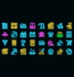 industrial climber icons set neon vector image